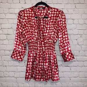Mystic Red & White Patterned Silky V Neck Blouse